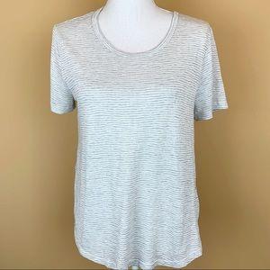Athleta knit top striped gray white tee t-shirt